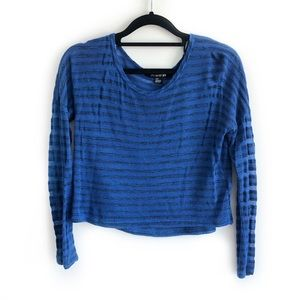 Striped Long Sleeve Crop Top Scoop Neck Blue Black